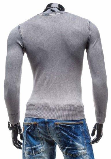 Sweter męski w serek szary Denley 6029