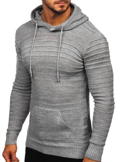 Sweter męski z kapturem szary Denley 7003