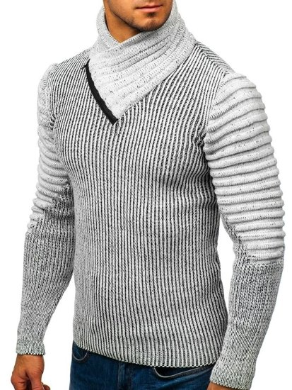 Sweter męski ze stójką szaro-czarny Denley 20002