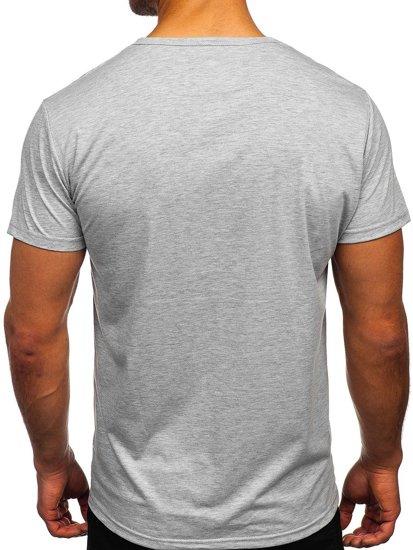 Szary T-shirt męski z nadrukiem Denley KS2523T