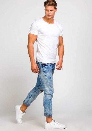 T-shirt męski bez nadruku biały Denley 2006