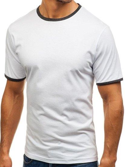 T-shirt męski bez nadruku biały Denley 6310