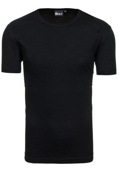 T-shirt męski bez nadruku czarny Denley t30
