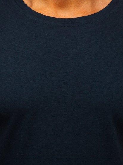 T-shirt męski bez nadruku granatowa Denley 2005