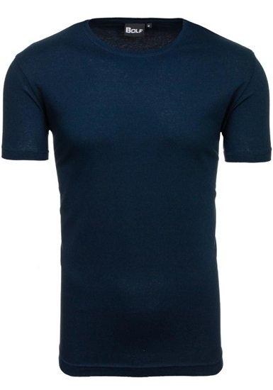 T-shirt męski bez nadruku granatowy Denley t30
