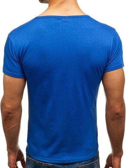 T-shirt męski bez nadruku niebieski Denley 2006
