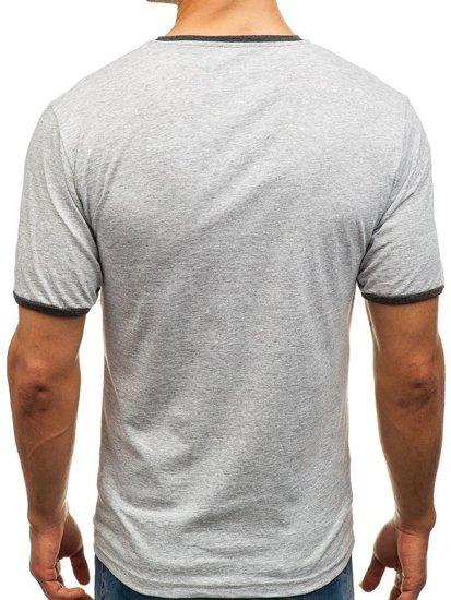 T-shirt męski bez nadruku szary Denley 6310