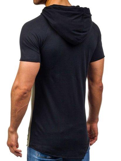 T-shirt męski bez nadruku z kapturem czarno-zielony Denley 1103