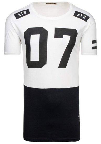 T-shirt męski z nadrukiem biały Denley 1942