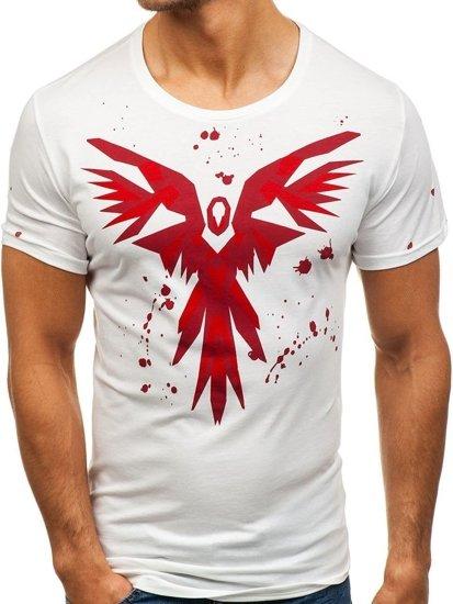 T-shirt męski z nadrukiem biały Denley 300