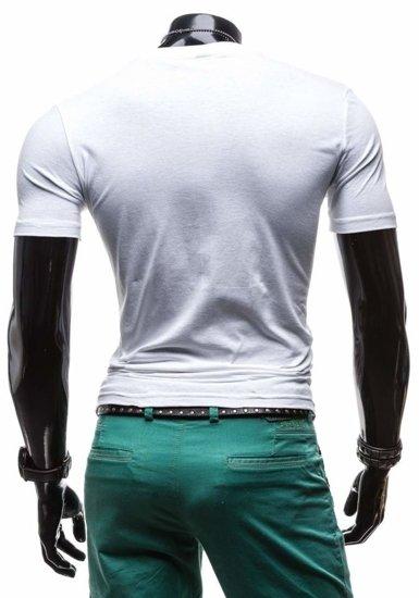 T-shirt męski z nadrukiem biały Denley 3212