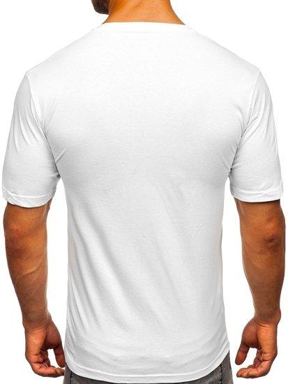 T-shirt męski z nadrukiem biały Denley 6303