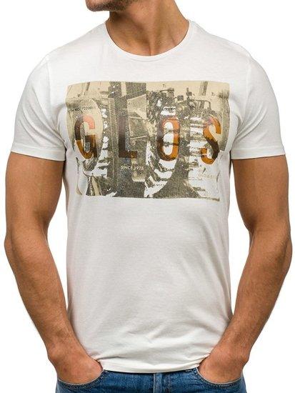 T-shirt męski z nadrukiem biały Denley 7462