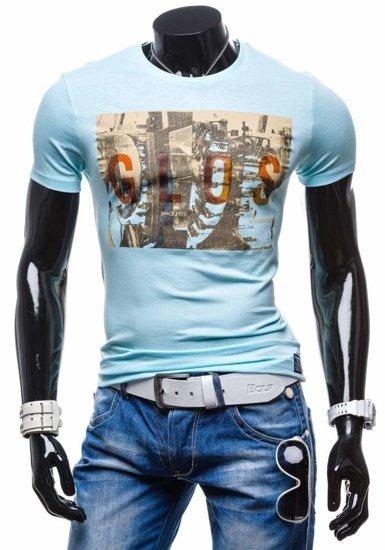 T-shirt męski z nadrukiem błękitny Denley 7462