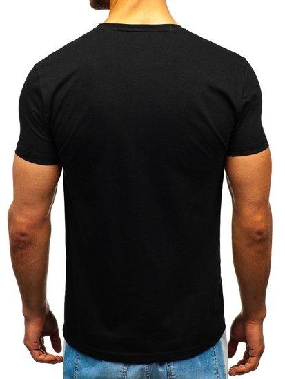 T-shirt męski z nadrukiem czarny Bolf 1241