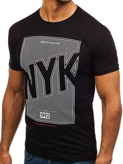 T-shirt męski z nadrukiem czarny Denley 0007