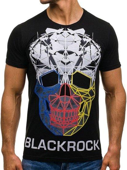 T-shirt męski z nadrukiem czarny Denley 1001