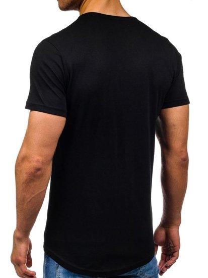 T-shirt męski z nadrukiem czarny Denley 358