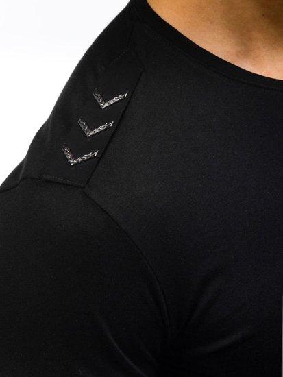 T-shirt męski z nadrukiem czarny Denley 368