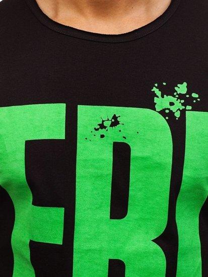 T-shirt męski z nadrukiem czarny Denley 6295