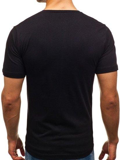 T-shirt męski z nadrukiem czarny Denley 6296