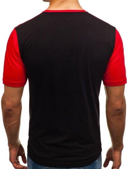 T-shirt męski z nadrukiem czarny Denley 6309