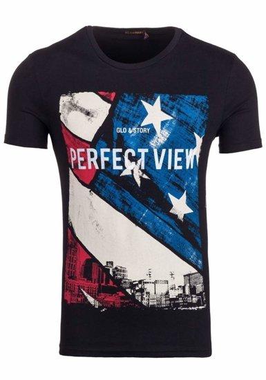 T-shirt męski z nadrukiem czarny Denley 7428