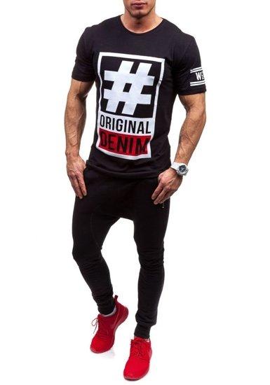T-shirt męski z nadrukiem czarny Denley cmr20