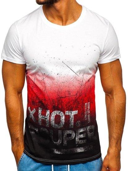 T-shirt męski z nadrukiem czerwony Denley 100767