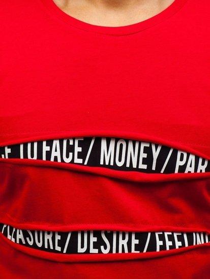 T-shirt męski z nadrukiem czerwony Denley 1881