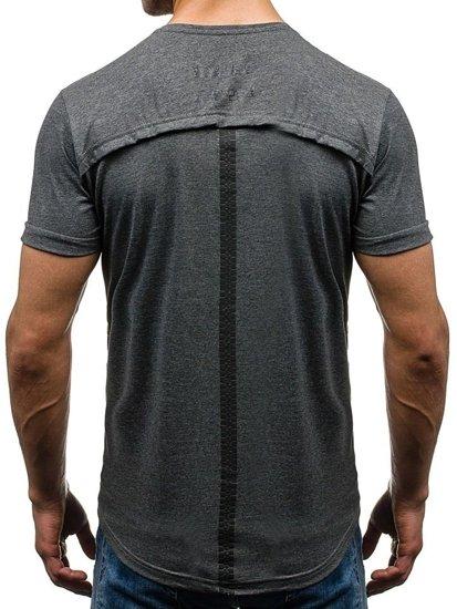 T-shirt męski z nadrukiem grafitowy Denley 035