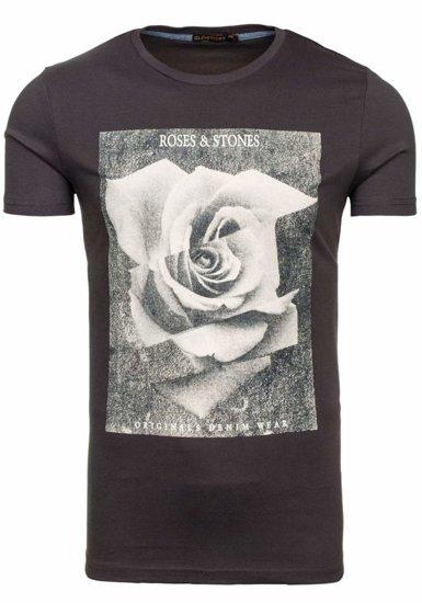 T-shirt męski z nadrukiem grafitowy Denley 2017