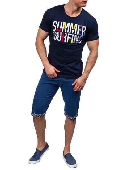 T-shirt męski z nadrukiem granatowy Denley 9056