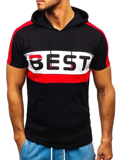 T-shirt męski z nadrukiem i kapturem czarny Denley 5798