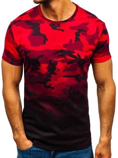 T-shirt męski z nadrukiem moro-czerwony Denley S808