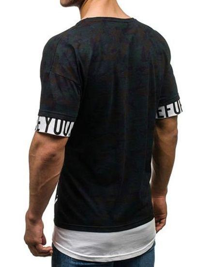 T-shirt męski z nadrukiem moro-granatowy Denley 1895