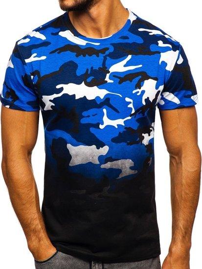 T-shirt męski z nadrukiem moro-niebieski Denley S808