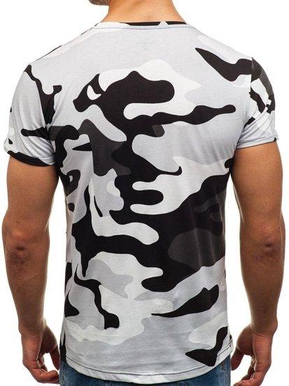 T-shirt męski z nadrukiem moro-szary Denley 1065