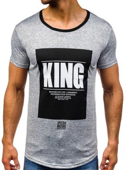 T-shirt męski z nadrukiem szary Denley s009
