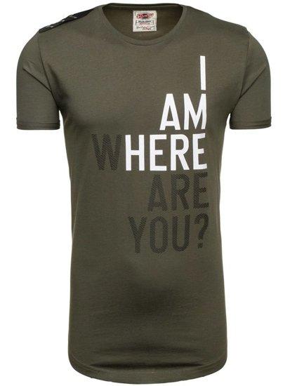 T-shirt męski z nadrukiem zielony Denley 368
