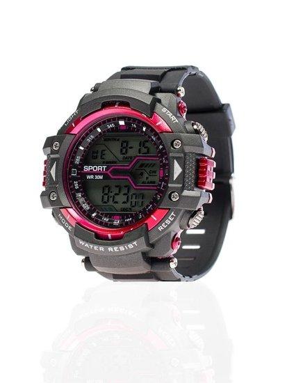 Zegarek męski na rękę czarno-bordowy Denley 8338