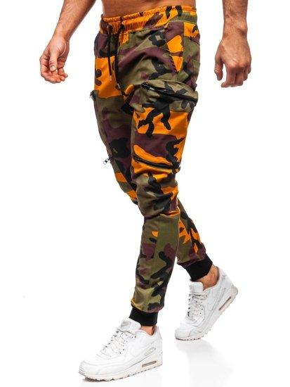 Zielono-pomarańczowe spodnie joggery bojówki męskie Bolf 0475