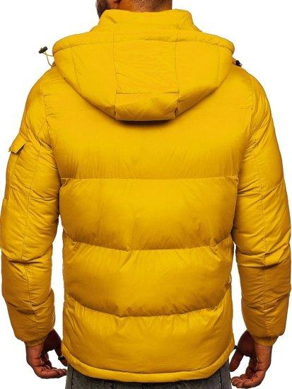 Żółta pikowana kurtka męska zimowa Denley 1161