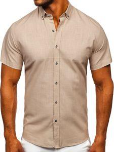 Beżowa bawełniana  koszula męska z krótkim rękawem Bolf 20501
