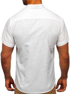 Biała bawełniana koszula męska z krótkim rękawem Bolf 20501
