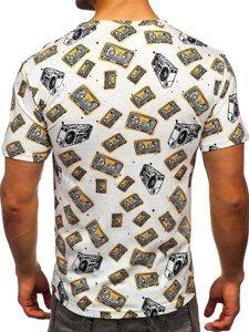 Biały T-shirt męski z nadrukiem Denley 14903
