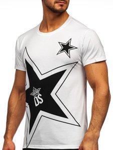 Biały T-shirt męski z nadrukiem Denley KS2369