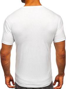 Biały t-shirt męski z nadrukiem Bolf 142174