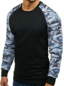 Bluza męska bez kaptura czarno-niebieska Denley 0883