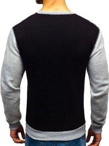 Bluza męska bez kaptura z nadrukiem czarna Denley 0594